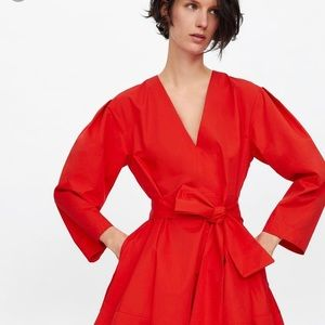 Zara Belted Poplin Dress